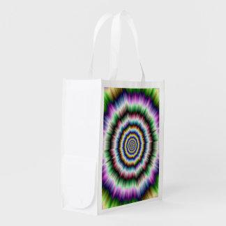 すみれ色の緑および青の買い物袋の爆発 エコバッグ