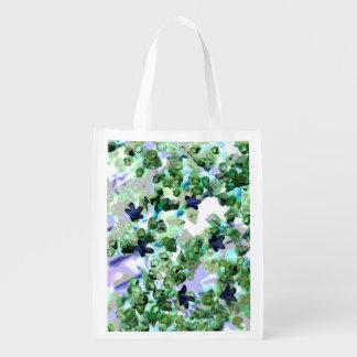 すみれ色の花のパターン(の模様が)あるで再使用可能な買い物袋 エコバッグ