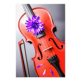 すみれ色の花の写真が付いている芸術的で詩的なバイオリン フォトプリント