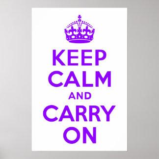すみれ色のKeep Calm and Carry On ポスター