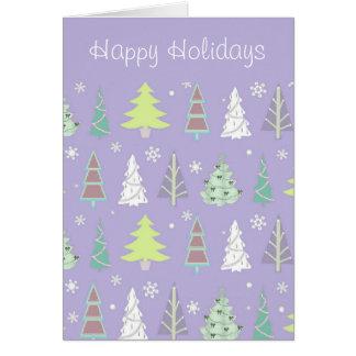 すみれ色クリスマスツリーパターンおよびライムID175 カード