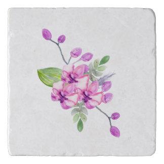 すみれ色水色の蘭 トリベット