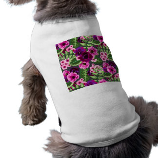 すみれ色Xのピンクの花模様 ペット服
