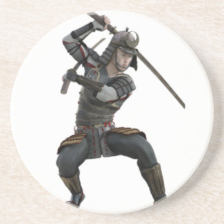 ずんぐりとした型枠の2本の剣を持つ武士 コースター