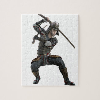 ずんぐりとした型枠の2本の剣を持つ武士 ジグソーパズル