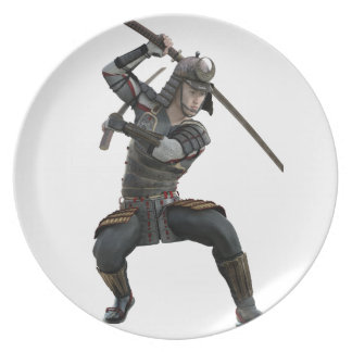 ずんぐりとした型枠の2本の剣を持つ武士 プレート