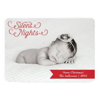 そう静かなない夜、新生児の写真の休日カード 12.7 X 17.8 インビテーションカード