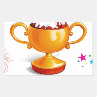 そして勝者はデザートのコップです 長方形シール