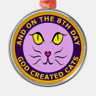 そして第8日に神は猫のオーナメントを作成しました メタルオーナメント