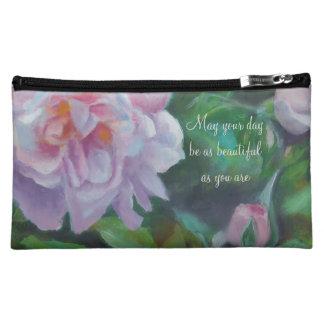 そっとピンクのバラの化粧品のバッグ コスメティックバッグ