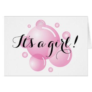 その女の子の挨拶状|の明るいピンクの石鹸の泡 カード