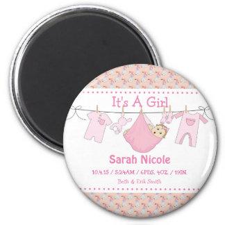 その女の子の誕生の発表の磁石- ClothesLine マグネット