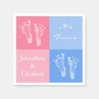 その対の男の子および女の子のかわいいピンクのベビーの足跡 スタンダードカクテルナプキン