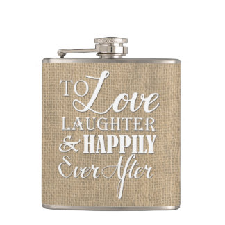 その後ずっと幸福に愛笑い声のバーラップの結婚式 フラスク