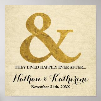 その後ずっと日付を結婚する金ゴールドのアンパーサンド幸福に ポスター