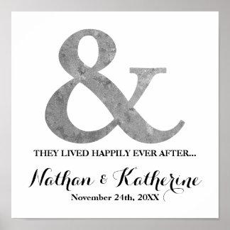その後ずっと日付を結婚する銀製のアンパーサンド幸福に ポスター