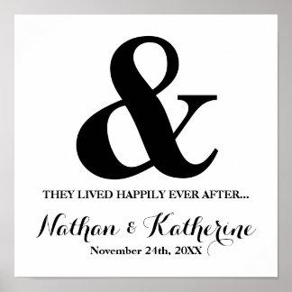 その後ずっと日付を結婚する黒いアンパーサンド幸福に ポスター