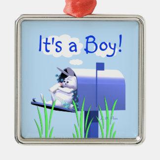 その男の子-ポストのベビーのバニー メタルオーナメント