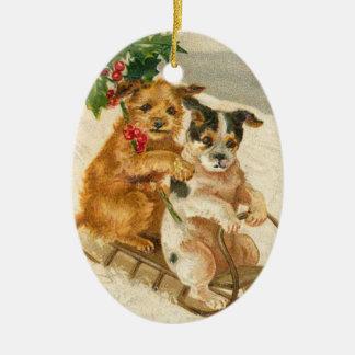 そりのクリスマスのオーナメントのヴィンテージ犬 セラミックオーナメント