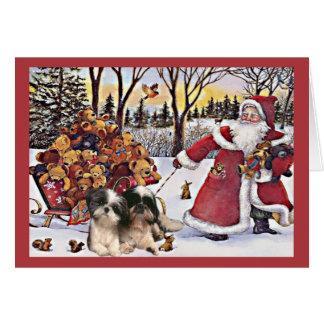 そりのシーズー(犬)のTzuのクリスマスカードのサンタくま カード