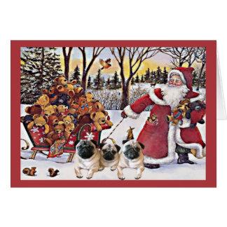 そりのパグのクリスマスカードのサンタくま カード
