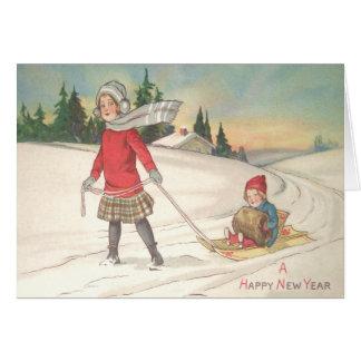 そりの雪をSleddingかわいい子供 カード