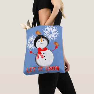それかわいい雪だるま割り当てられるクリスマスの休暇の季節の雪が降るため トートバッグ