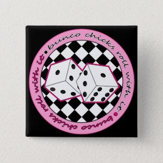それが付いているBuncoのひよこロール-ピンク 5.1cm 正方形バッジ
