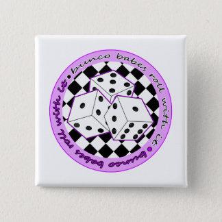 それが付いているBuncoの可愛い人ロール-紫色 5.1cm 正方形バッジ
