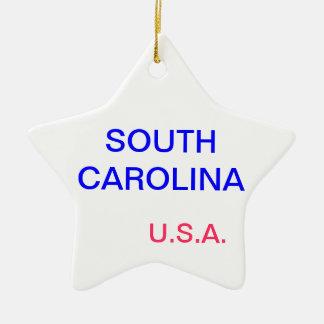 それのサウスカロライナそしてコロンビアが付いている星 セラミックオーナメント