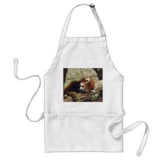 それの食糧を持つかわいい睡眠のレッサーパンダは口です スタンダードエプロン