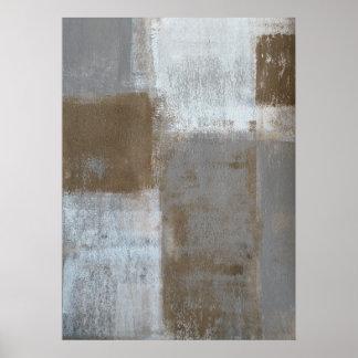「それの」灰色およびベージュ抽象美術の圧延 ポスター