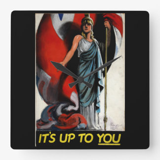 それはあなたまで(Britanniaの) _Propagandaポスターです スクエア壁時計
