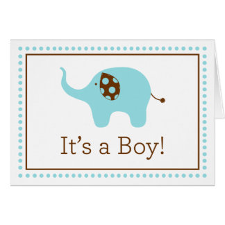 """""""それはです男の子!"""" 象のメッセージカード カード"""