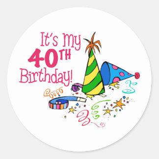 それはです私の第40誕生日(パーティーの帽子) ラウンドシール