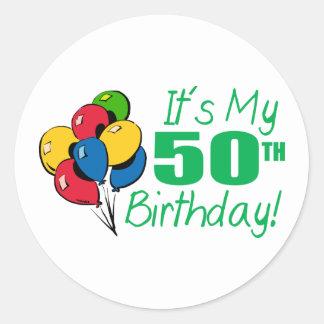 それはです私の第50誕生日(気球) ラウンドシール