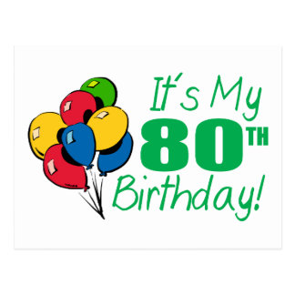 それはです私の第80誕生日(気球) 葉書き
