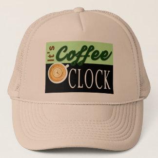 それはコーヒー時の文字の時計のコップのヒップスターメッセージです キャップ