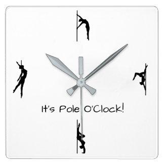 それはポーランド人のダンスへ時間です! ポーランド人は柱時計を動かします スクエア壁時計