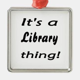 それは図書館の事です! シルバーカラー正方形オーナメント