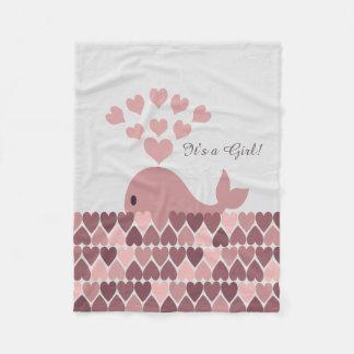それは女の子です! かわいいピンクのクジラ フリースブランケット