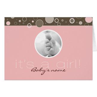それは女の子です! -ピンクの女の赤ちゃんのカスタムによって折られるカード カード