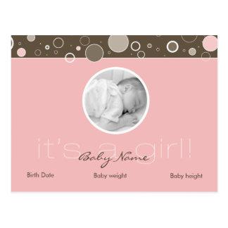 それは女の子です! -ピンクの女の赤ちゃんのカスタムの郵便はがき ポストカード