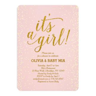 それは女の子のピンクの金ゴールドのベビーシャワーの招待状です カード