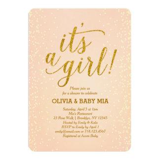 それは女の子のモモの金ゴールドのベビーシャワーの招待状です カード