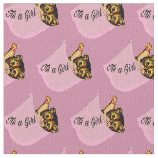 それは女の子の愛らしい子ネコの女の赤ちゃんの生地です ファブリック