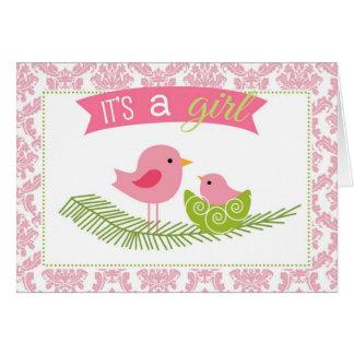 それは女の子の挨拶状-巣を持つダマスク織の鳥です カード