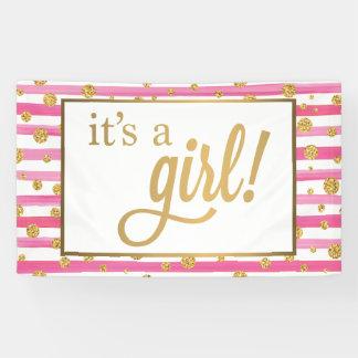 それは女の子の旗-新生児-ピンクおよび金ゴールドです 横断幕