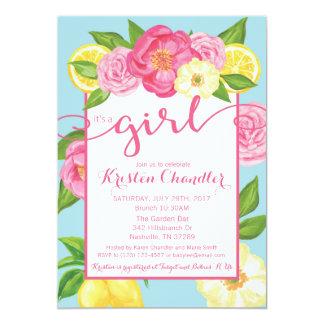 それは女の子の花の庭のベビーシャワーの招待状です カード