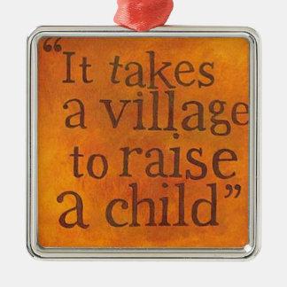 それは子供を育てるために村を取ります メタルオーナメント